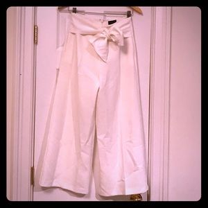 TOPSHOP White cropped high waisted dress pants